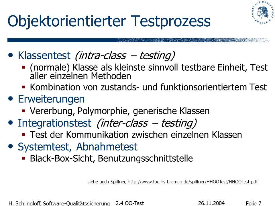 Folie 7 H. Schlingloff, Software-Qualitätssicherung 26.11.2004 2.4 OO-Test Objektorientierter Testprozess Klassentest (intra-class – testing) (normale