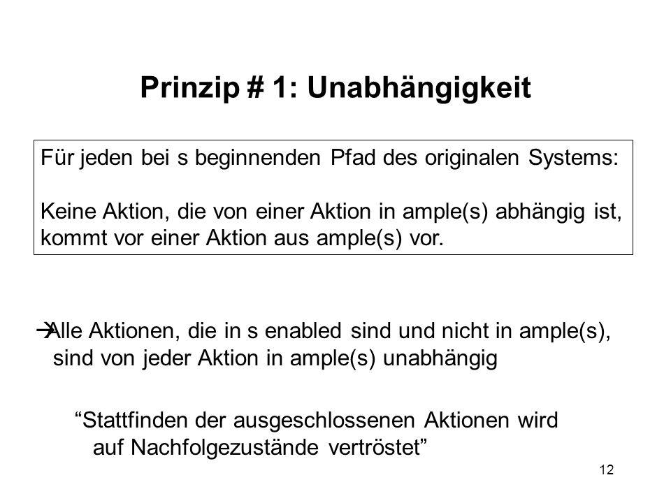 12 Prinzip # 1: Unabhängigkeit Alle Aktionen, die in s enabled sind und nicht in ample(s), sind von jeder Aktion in ample(s) unabhängig Stattfinden de