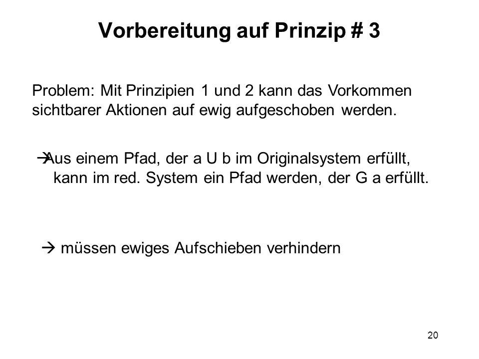 20 Vorbereitung auf Prinzip # 3 Problem: Mit Prinzipien 1 und 2 kann das Vorkommen sichtbarer Aktionen auf ewig aufgeschoben werden. Aus einem Pfad, d