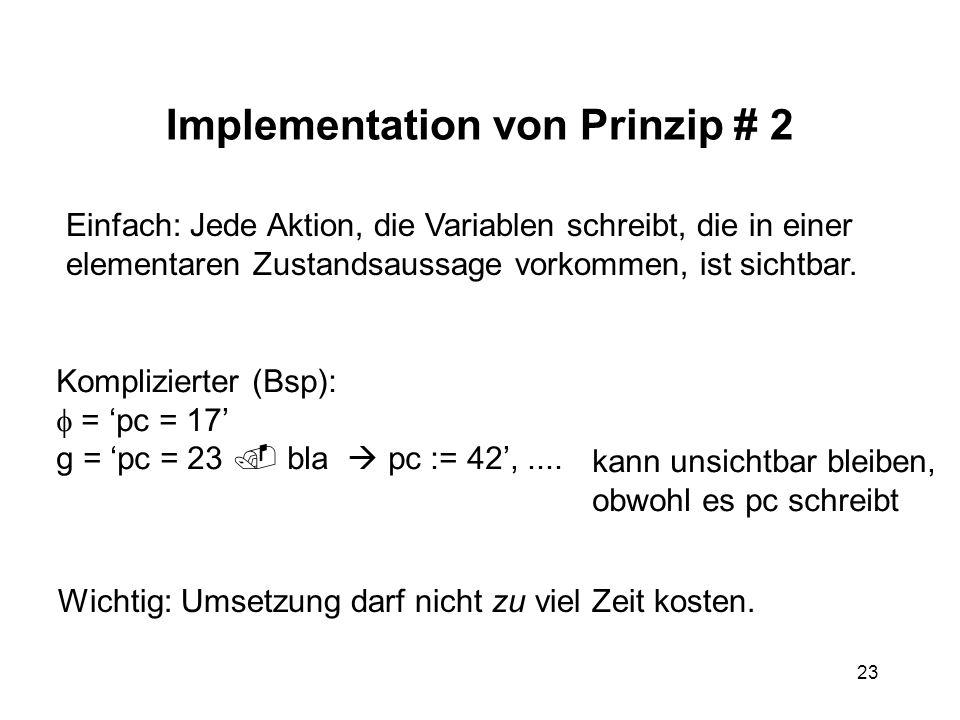 23 Implementation von Prinzip # 2 Einfach: Jede Aktion, die Variablen schreibt, die in einer elementaren Zustandsaussage vorkommen, ist sichtbar. Komp