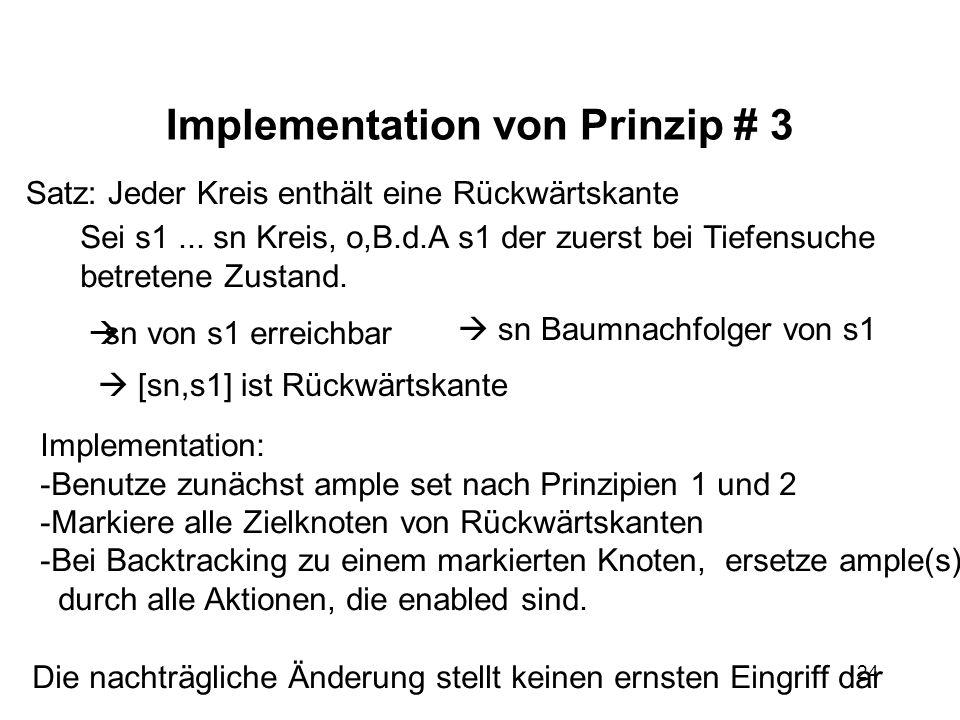 24 Implementation von Prinzip # 3 Satz: Jeder Kreis enthält eine Rückwärtskante Sei s1... sn Kreis, o,B.d.A s1 der zuerst bei Tiefensuche betretene Zu