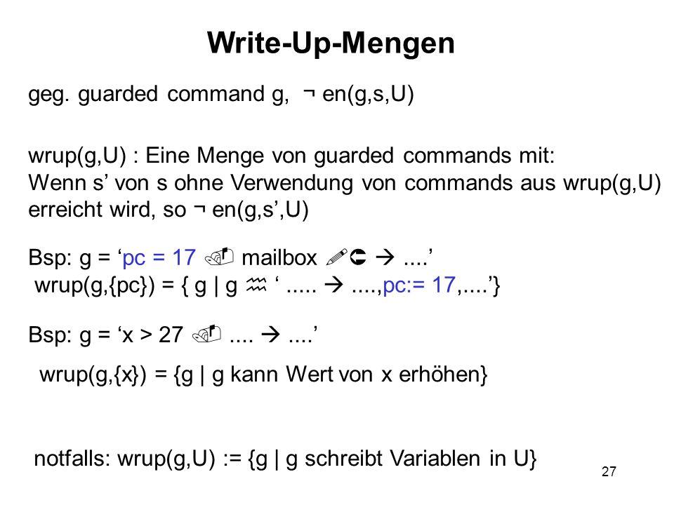 27 Write-Up-Mengen geg. guarded command g, ¬ en(g,s,U) wrup(g,U) : Eine Menge von guarded commands mit: Wenn s von s ohne Verwendung von commands aus