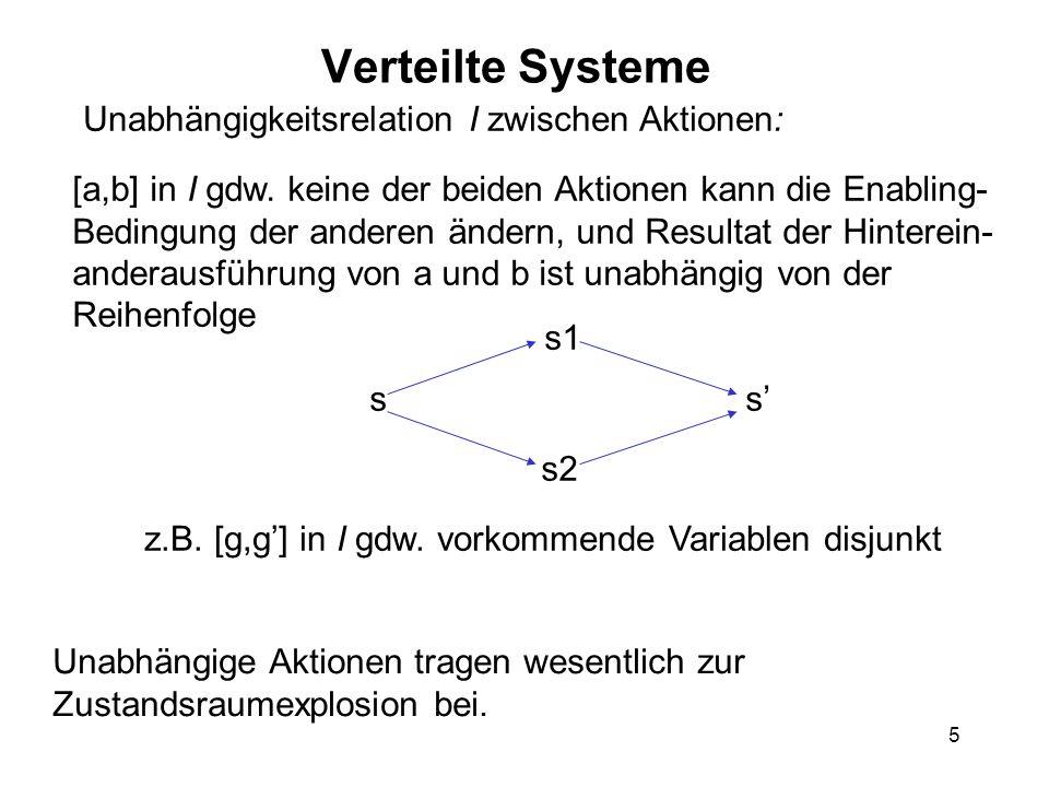 5 Verteilte Systeme Unabhängigkeitsrelation I zwischen Aktionen: [a,b] in I gdw. keine der beiden Aktionen kann die Enabling- Bedingung der anderen än