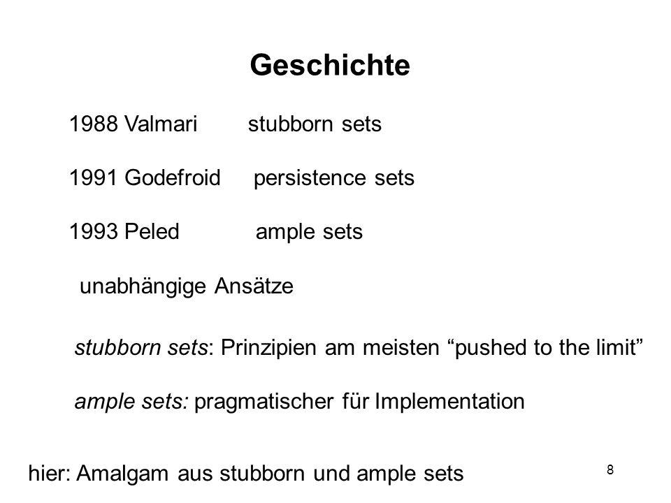 8 Geschichte 1988 Valmari stubborn sets 1991 Godefroid persistence sets 1993 Peled ample sets unabhängige Ansätze stubborn sets: Prinzipien am meisten