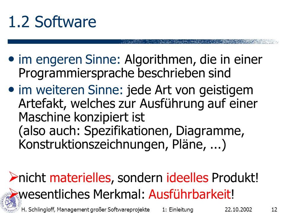22.10.2002H. Schlingloff, Management großer Softwareprojekte12 1.2 Software im engeren Sinne: Algorithmen, die in einer Programmiersprache beschrieben