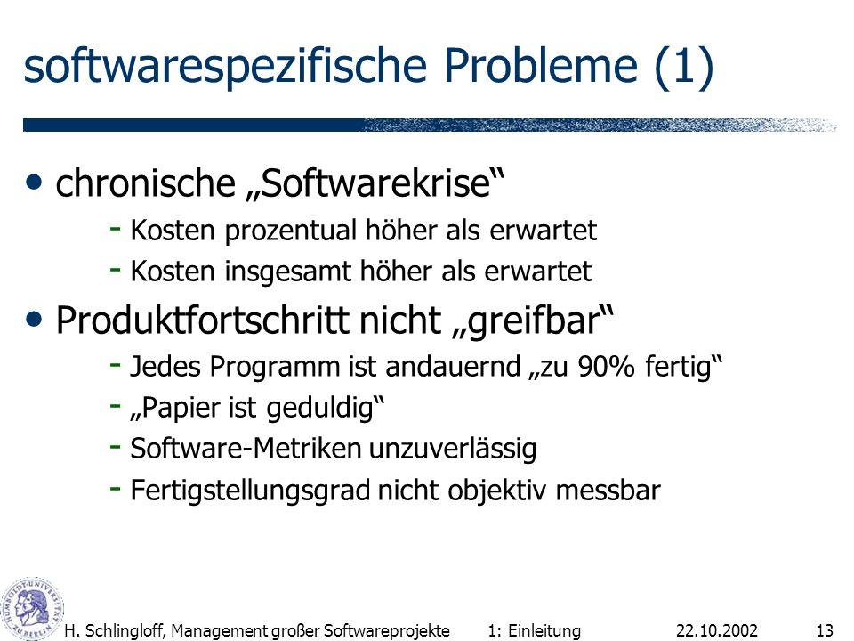 22.10.2002H. Schlingloff, Management großer Softwareprojekte13 softwarespezifische Probleme (1) chronische Softwarekrise - Kosten prozentual höher als