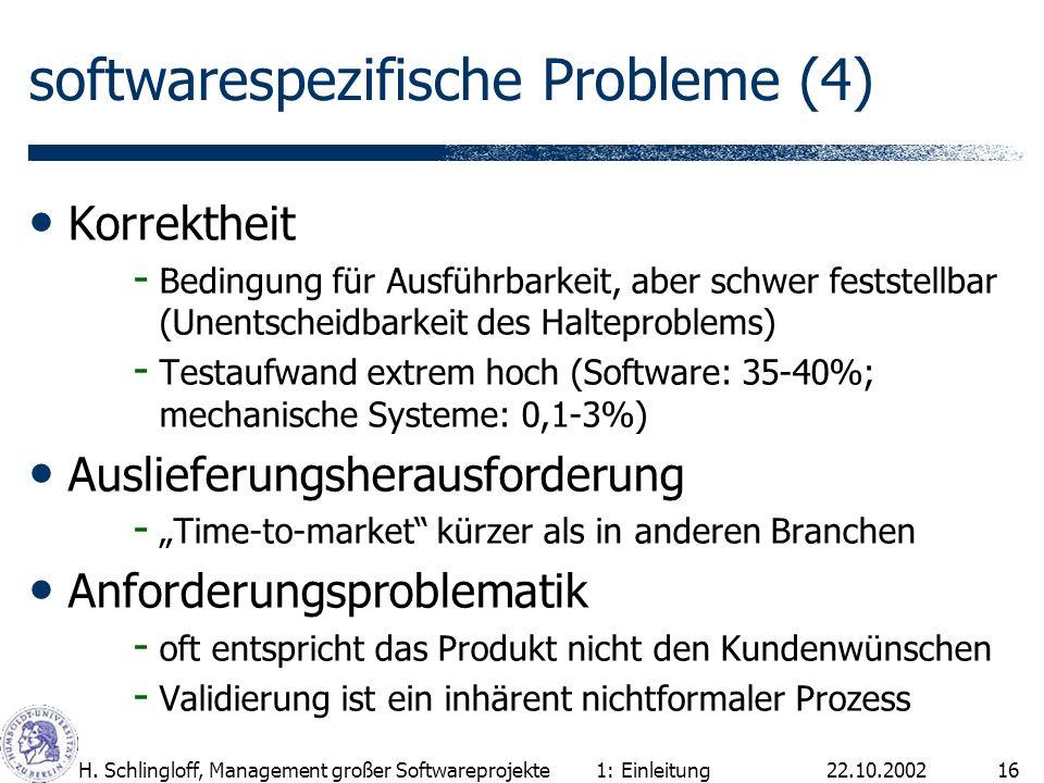 22.10.2002H. Schlingloff, Management großer Softwareprojekte16 softwarespezifische Probleme (4) Korrektheit - Bedingung für Ausführbarkeit, aber schwe