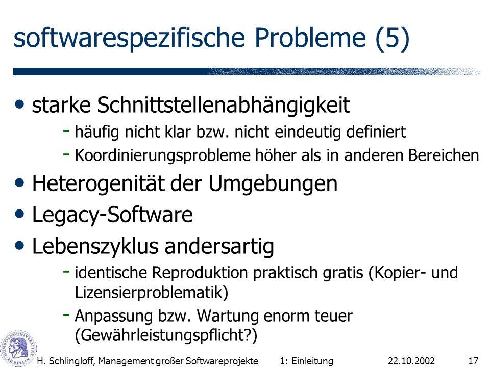 22.10.2002H. Schlingloff, Management großer Softwareprojekte17 softwarespezifische Probleme (5) starke Schnittstellenabhängigkeit - häufig nicht klar