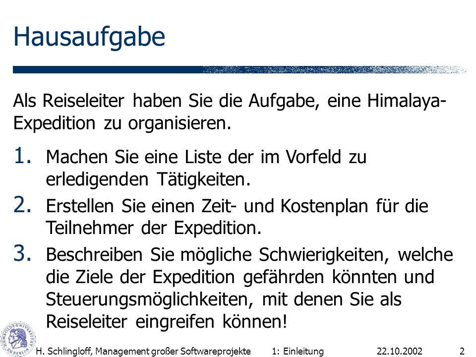 22.10.2002H. Schlingloff, Management großer Softwareprojekte2 Hausaufgabe Als Reiseleiter haben Sie die Aufgabe, eine Himalaya- Expedition zu organisi