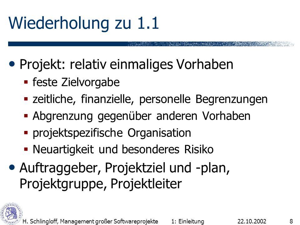 22.10.2002H. Schlingloff, Management großer Softwareprojekte8 Wiederholung zu 1.1 Projekt: relativ einmaliges Vorhaben feste Zielvorgabe zeitliche, fi