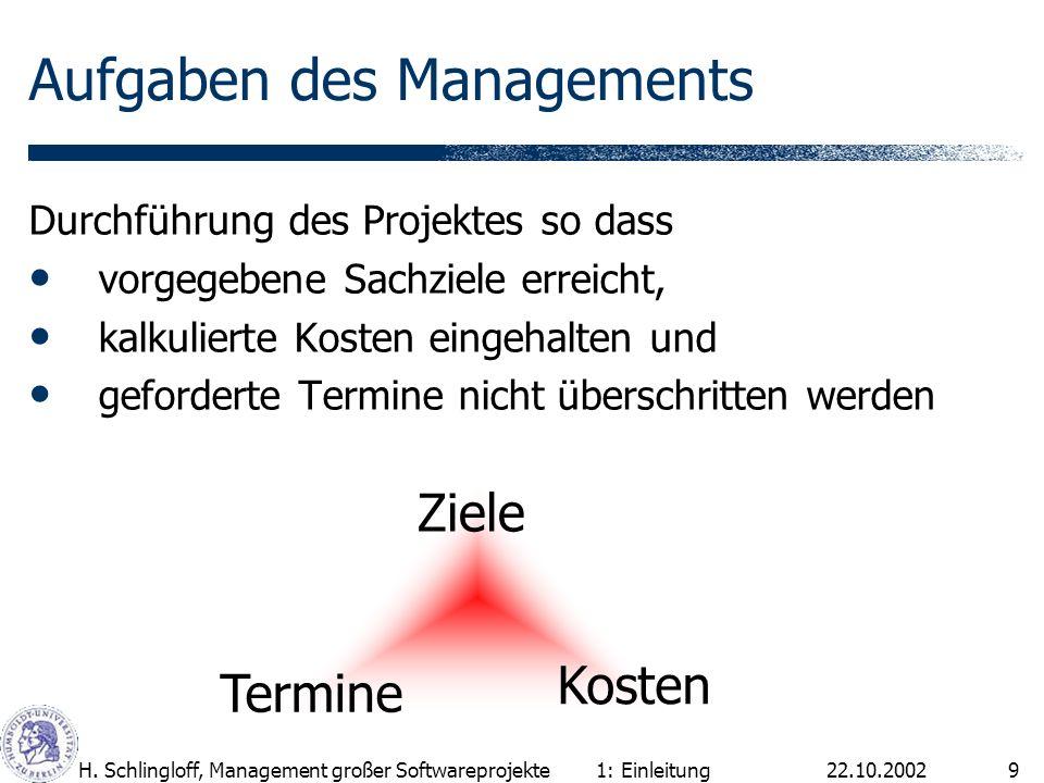 22.10.2002H. Schlingloff, Management großer Softwareprojekte9 Aufgaben des Managements Durchführung des Projektes so dass vorgegebene Sachziele erreic