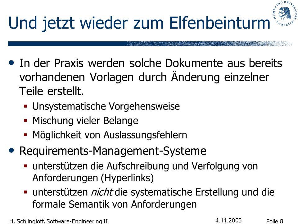 Folie 19 H.Schlingloff, Software-Engineering II 4.11.2005 Def.
