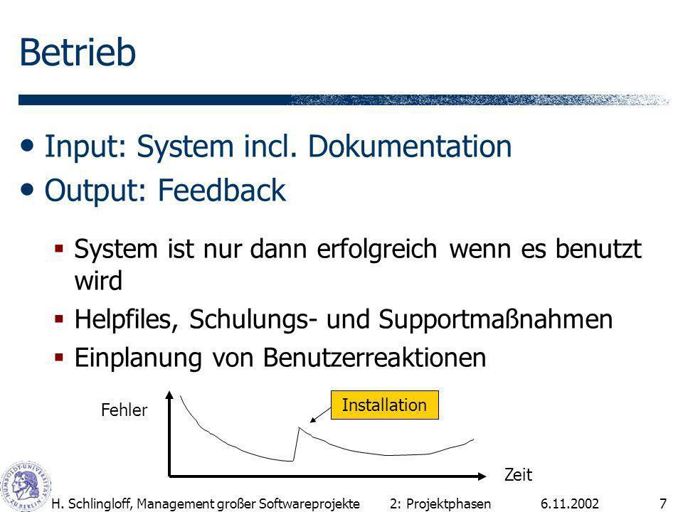 6.11.2002H.Schlingloff, Management großer Softwareprojekte7 Betrieb Input: System incl.