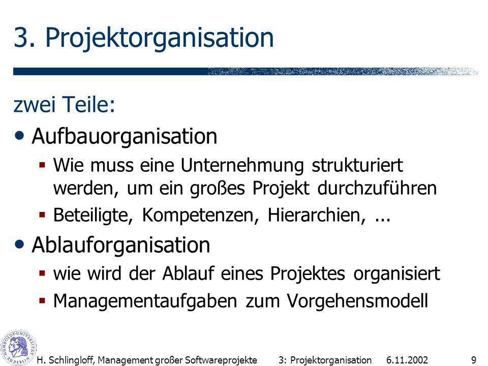 6.11.2002H.Schlingloff, Management großer Softwareprojekte9 3.