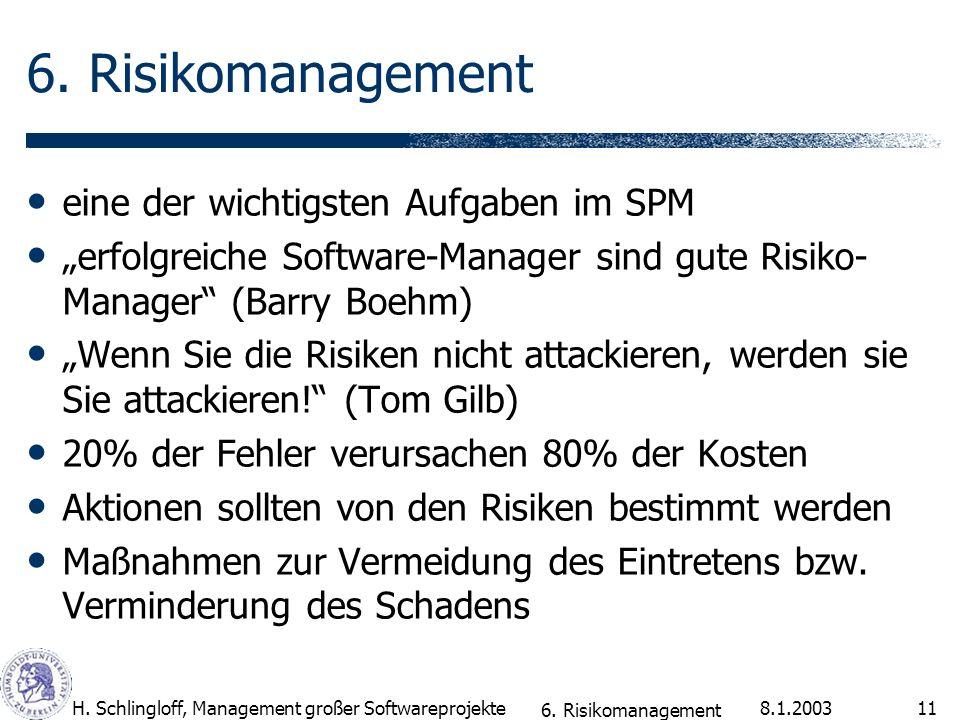 8.1.2003H. Schlingloff, Management großer Softwareprojekte11 6. Risikomanagement eine der wichtigsten Aufgaben im SPM erfolgreiche Software-Manager si