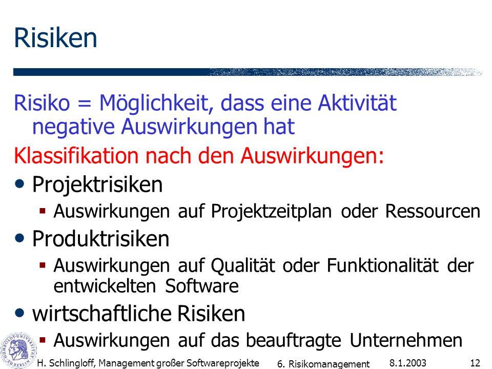 8.1.2003H. Schlingloff, Management großer Softwareprojekte12 Risiken Risiko = Möglichkeit, dass eine Aktivität negative Auswirkungen hat Klassifikatio
