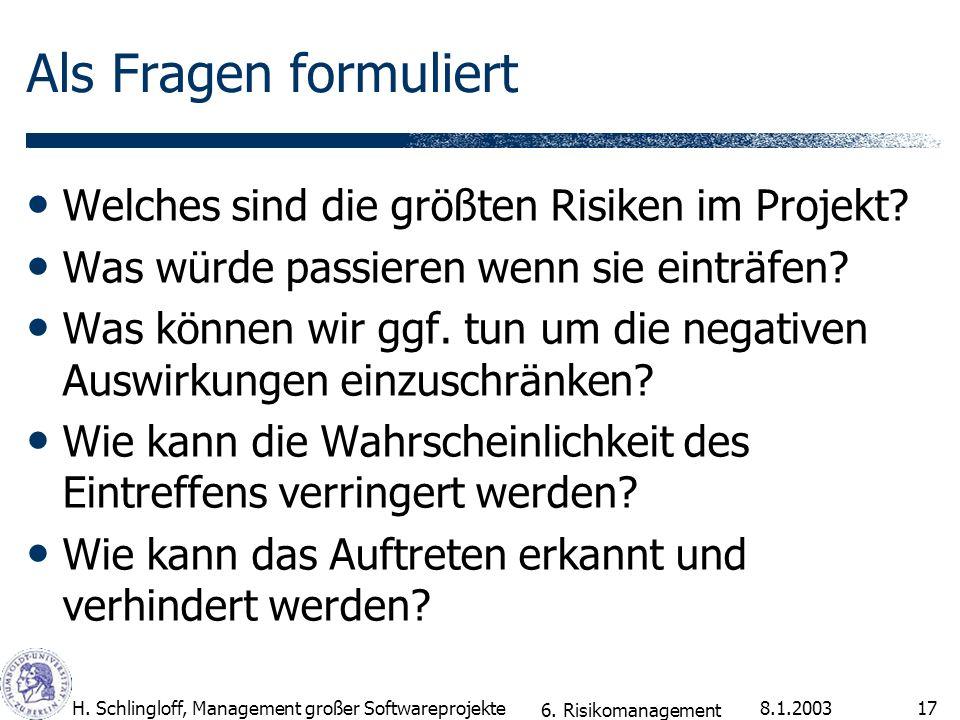 8.1.2003H. Schlingloff, Management großer Softwareprojekte17 Als Fragen formuliert Welches sind die größten Risiken im Projekt? Was würde passieren we