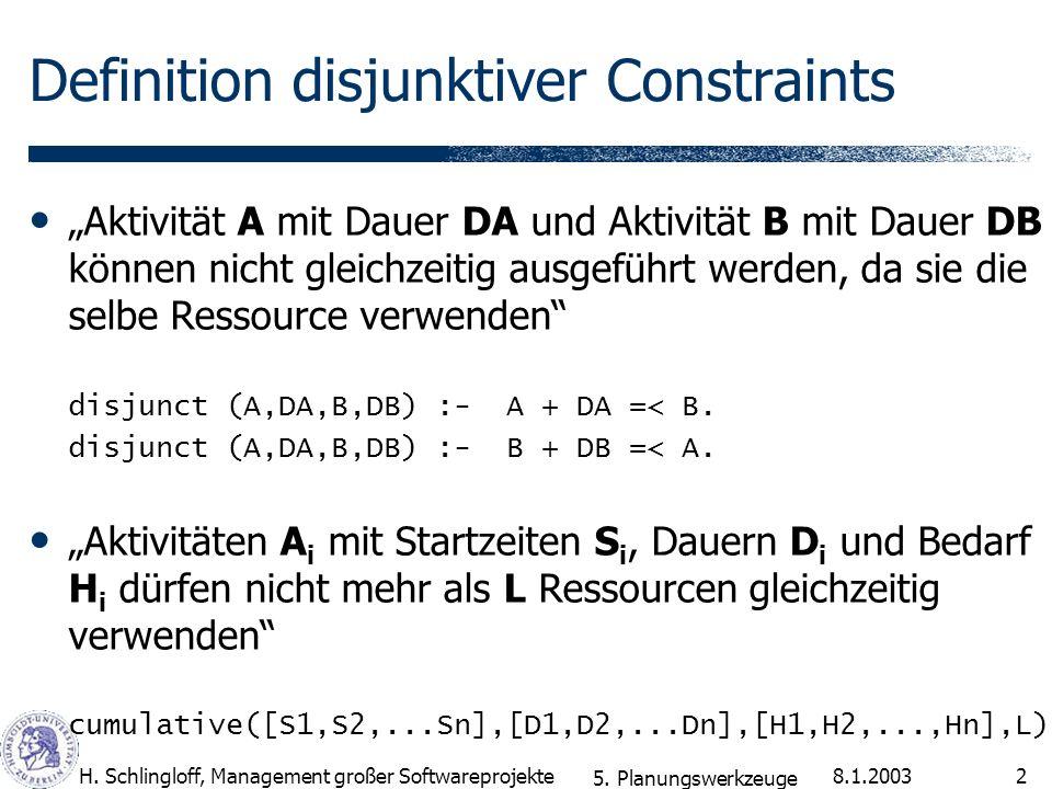 8.1.2003H. Schlingloff, Management großer Softwareprojekte2 Definition disjunktiver Constraints Aktivität A mit Dauer DA und Aktivität B mit Dauer DB