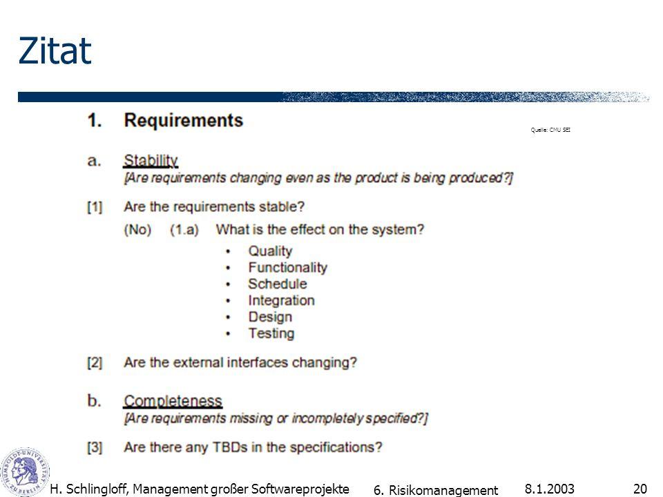 8.1.2003H. Schlingloff, Management großer Softwareprojekte20 Zitat 6. Risikomanagement Quelle: CMU SEI