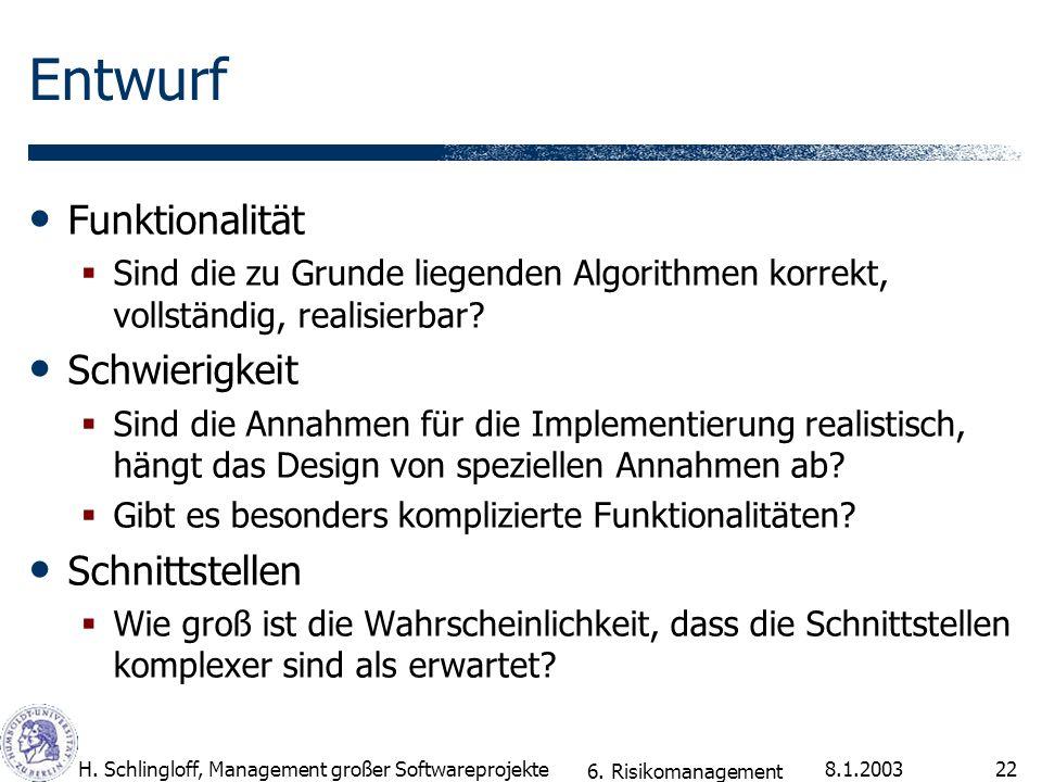 8.1.2003H. Schlingloff, Management großer Softwareprojekte22 Entwurf Funktionalität Sind die zu Grunde liegenden Algorithmen korrekt, vollständig, rea