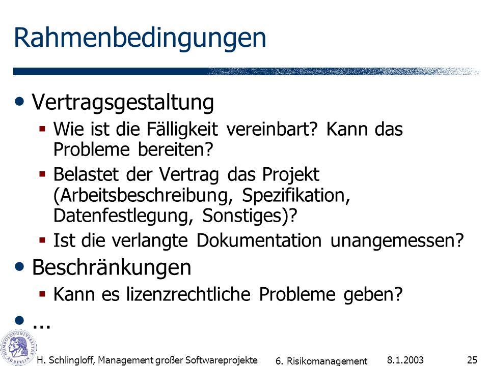 8.1.2003H. Schlingloff, Management großer Softwareprojekte25 Rahmenbedingungen Vertragsgestaltung Wie ist die Fälligkeit vereinbart? Kann das Probleme