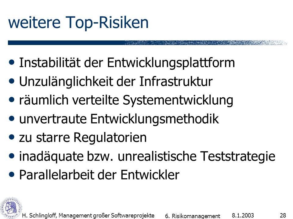 8.1.2003H. Schlingloff, Management großer Softwareprojekte28 weitere Top-Risiken Instabilität der Entwicklungsplattform Unzulänglichkeit der Infrastru