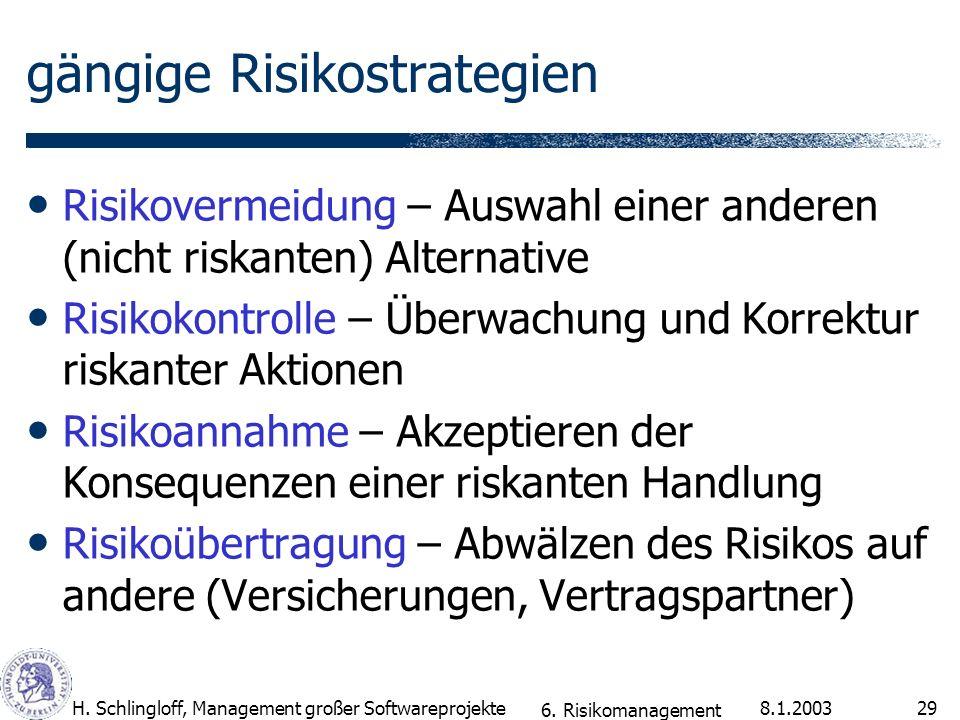 8.1.2003H. Schlingloff, Management großer Softwareprojekte29 gängige Risikostrategien Risikovermeidung – Auswahl einer anderen (nicht riskanten) Alter