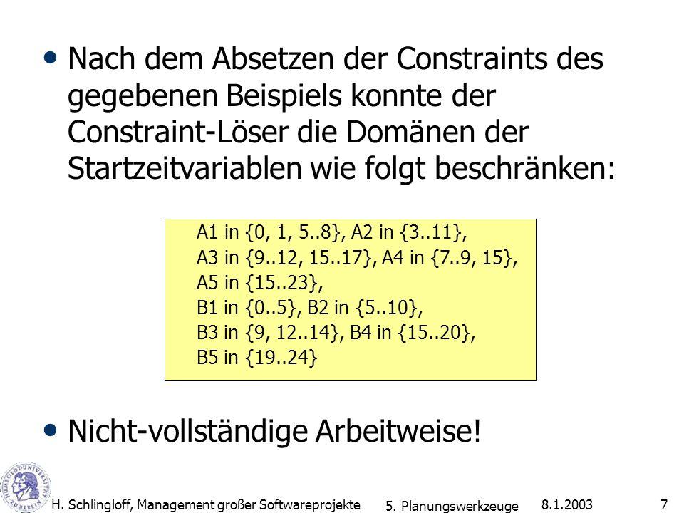 8.1.2003H. Schlingloff, Management großer Softwareprojekte7 Nach dem Absetzen der Constraints des gegebenen Beispiels konnte der Constraint-Löser die