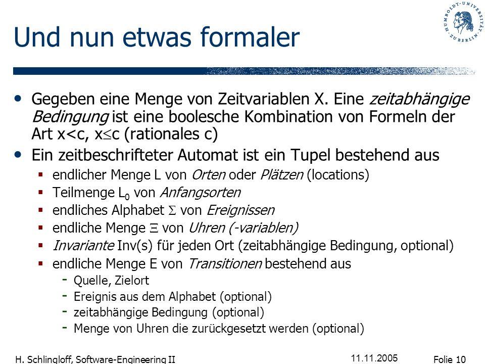 Folie 10 H. Schlingloff, Software-Engineering II 11.11.2005 Und nun etwas formaler Gegeben eine Menge von Zeitvariablen X. Eine zeitabhängige Bedingun