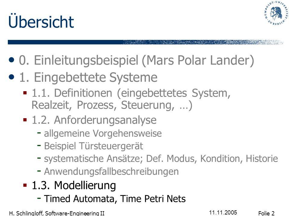 Folie 2 H. Schlingloff, Software-Engineering II 11.11.2005 Übersicht 0. Einleitungsbeispiel (Mars Polar Lander) 1. Eingebettete Systeme 1.1. Definitio