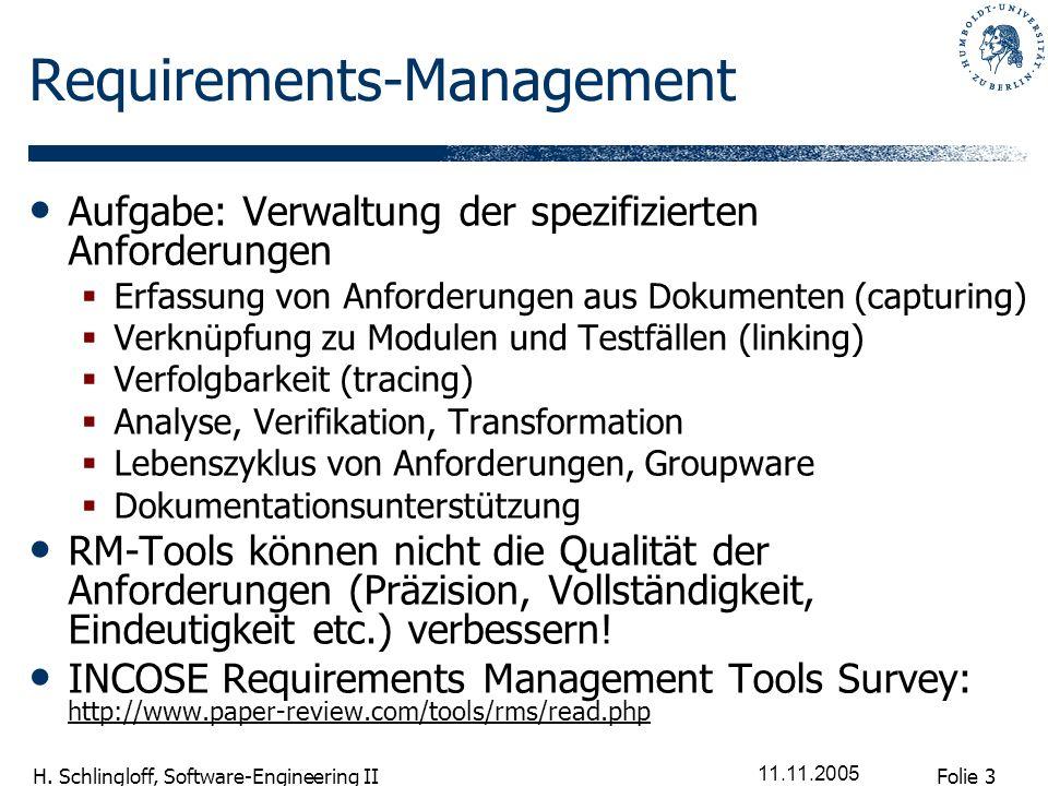 Folie 3 H. Schlingloff, Software-Engineering II 11.11.2005 Requirements-Management Aufgabe: Verwaltung der spezifizierten Anforderungen Erfassung von