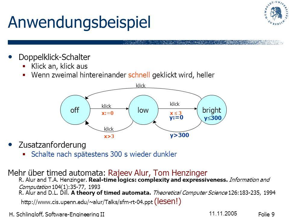 Folie 9 H. Schlingloff, Software-Engineering II 11.11.2005 Anwendungsbeispiel Doppelklick-Schalter Klick an, klick aus Wenn zweimal hintereinander sch