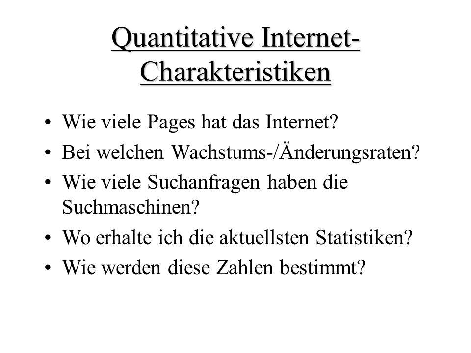 Quantitative Internet- Charakteristiken Wie viele Pages hat das Internet.