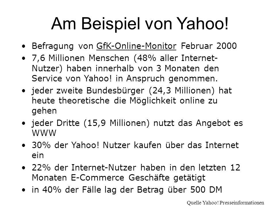 Befragung von GfK-Online-Monitor Februar 2000 7,6 Millionen Menschen (48% aller Internet- Nutzer) haben innerhalb von 3 Monaten den Service von Yahoo.