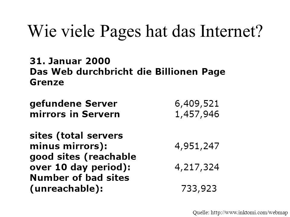 Wie viele Pages hat das Internet. 31.