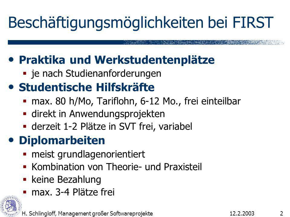 12.2.2003H. Schlingloff, Management großer Softwareprojekte2 Beschäftigungsmöglichkeiten bei FIRST Praktika und Werkstudentenplätze je nach Studienanf