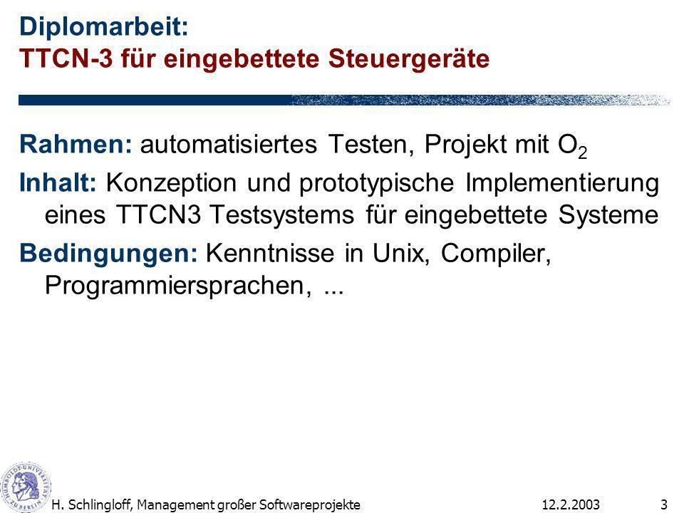 12.2.2003H. Schlingloff, Management großer Softwareprojekte3 Diplomarbeit: TTCN-3 für eingebettete Steuergeräte Rahmen: automatisiertes Testen, Projek