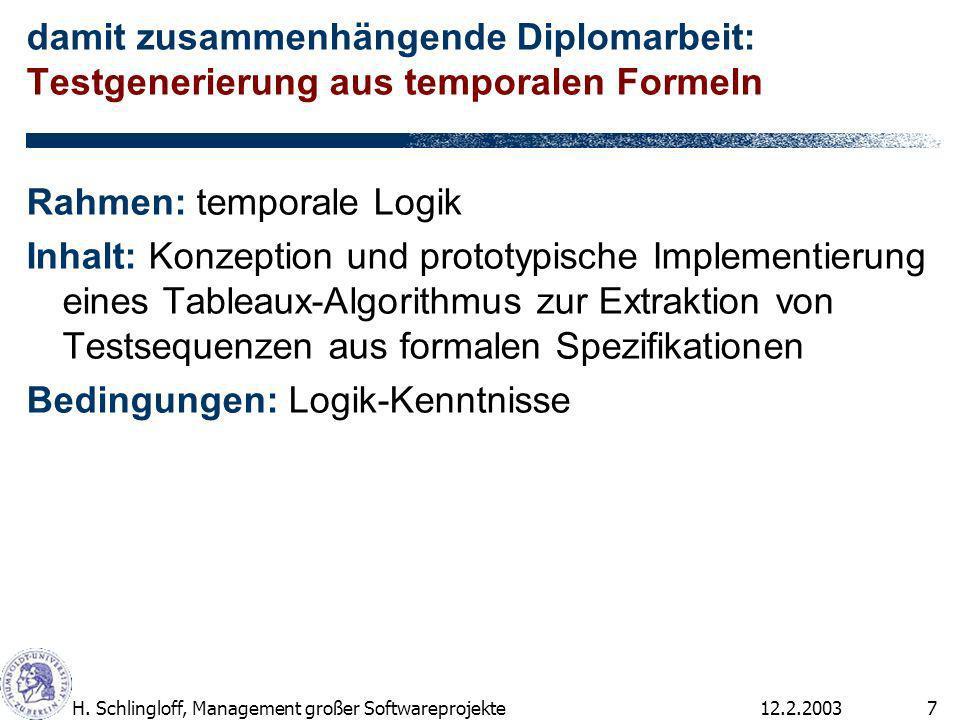 12.2.2003H. Schlingloff, Management großer Softwareprojekte7 damit zusammenhängende Diplomarbeit: Testgenerierung aus temporalen Formeln Rahmen: tempo