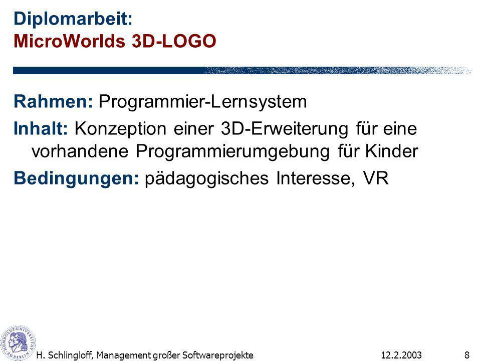 12.2.2003H. Schlingloff, Management großer Softwareprojekte8 Diplomarbeit: MicroWorlds 3D-LOGO Rahmen: Programmier-Lernsystem Inhalt: Konzeption einer