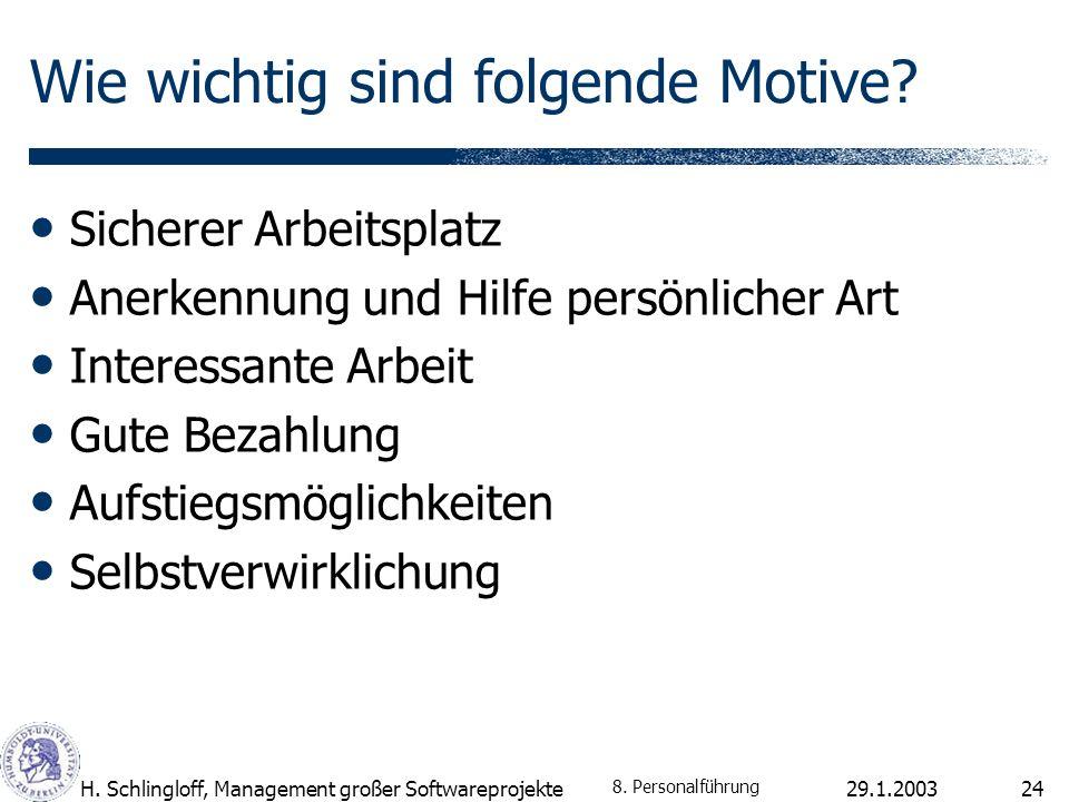 29.1.2003H. Schlingloff, Management großer Softwareprojekte24 Wie wichtig sind folgende Motive.