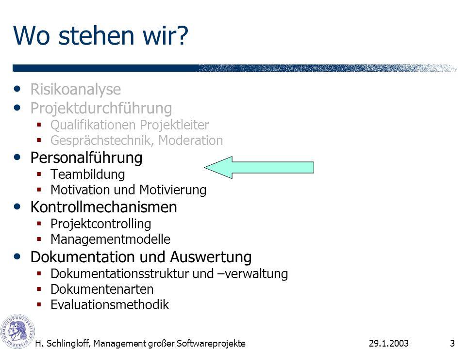 29.1.2003H.Schlingloff, Management großer Softwareprojekte24 Wie wichtig sind folgende Motive.