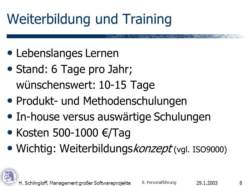 29.1.2003H. Schlingloff, Management großer Softwareprojekte9 8. Personalführung