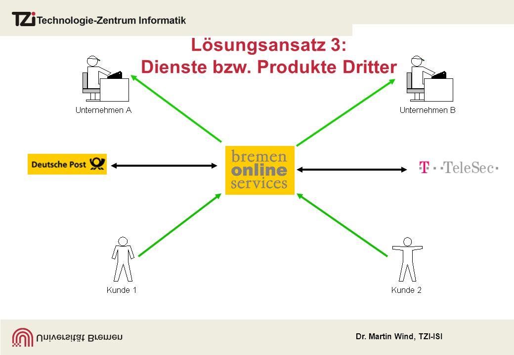 Dr. Martin Wind, TZI-ISI Lösungsansatz 3: Dienste bzw. Produkte Dritter