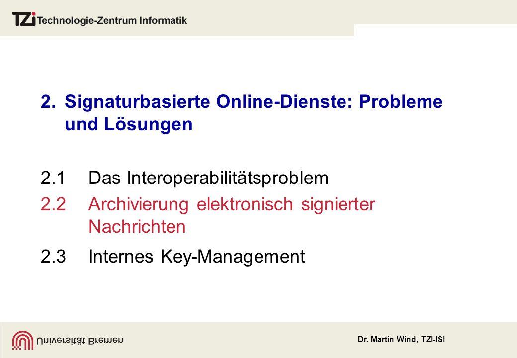 Dr. Martin Wind, TZI-ISI 2.Signaturbasierte Online-Dienste: Probleme und Lösungen 2.1Das Interoperabilitätsproblem 2.2Archivierung elektronisch signie