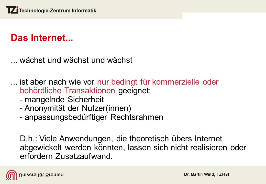 Dr.Martin Wind, TZI-ISI Das Internet...... wächst und wächst und wächst...
