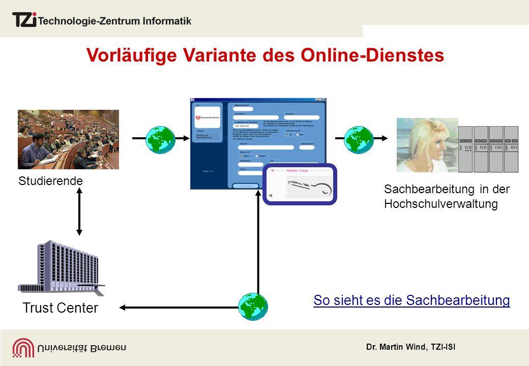 Dr. Martin Wind, TZI-ISI StudierendeSachbearbeitung in der Hochschulverwaltung Vorläufige Variante des Online-Dienstes Trust Center So sieht es die Sa