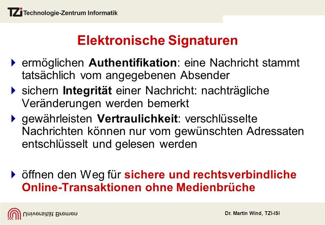 Dr. Martin Wind, TZI-ISI Elektronische Signaturen ermöglichen Authentifikation: eine Nachricht stammt tatsächlich vom angegebenen Absender sichern Int