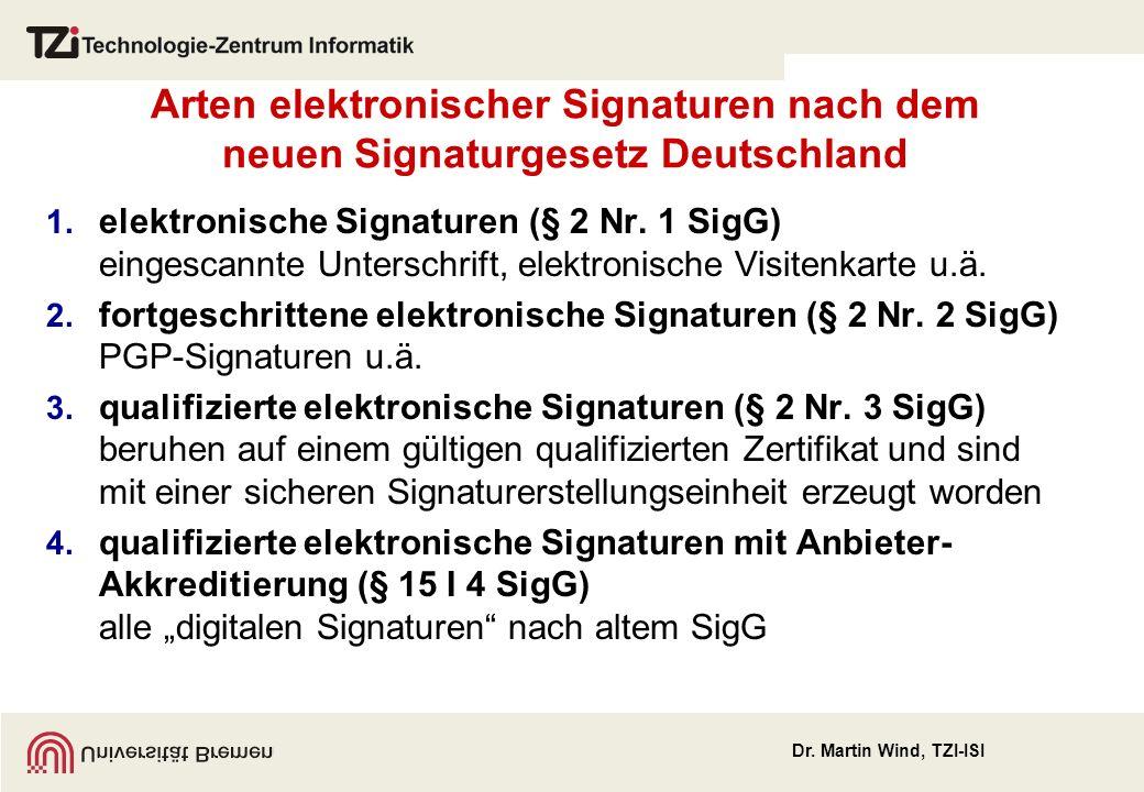 Dr. Martin Wind, TZI-ISI Arten elektronischer Signaturen nach dem neuen Signaturgesetz Deutschland 1. elektronische Signaturen (§ 2 Nr. 1 SigG) einges