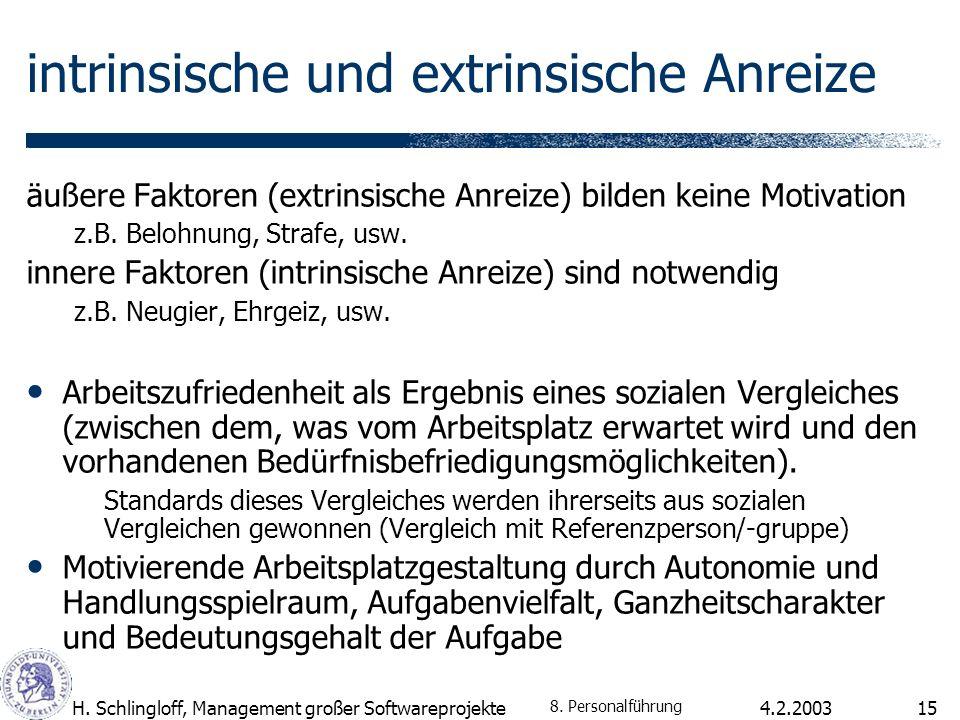4.2.2003H. Schlingloff, Management großer Softwareprojekte15 intrinsische und extrinsische Anreize äußere Faktoren (extrinsische Anreize) bilden keine