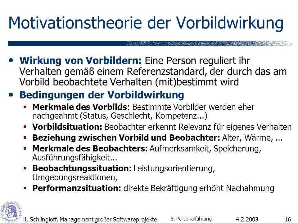 4.2.2003H. Schlingloff, Management großer Softwareprojekte16 Motivationstheorie der Vorbildwirkung Wirkung von Vorbildern: Eine Person reguliert ihr V